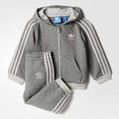 Adidas Infant's Quilted Hooded Grey Track Suit s95953