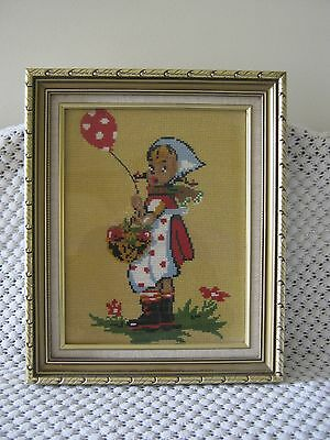 Tapestry Little Girl With Balloon Picture  Framed