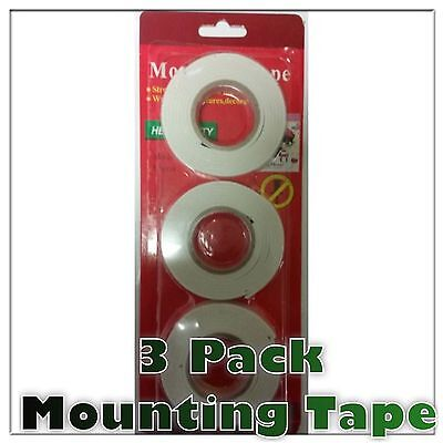 Pack of 3 Double Sided Foam Tape Heavy duty Mounting tape Wall picture