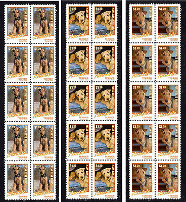 Airedale Terrier Dog Set Of 3 Mint 'mbf' Stamp Strips