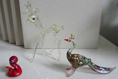 Vintage Small Glass Animals/Birds - Whitby Luck Duck, Deer & Murano Peacock