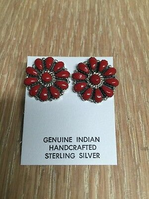Native American Navajo Cluster Post Red Coral Earrings  L Watson Wow Stunning #2