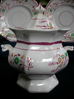 PINK LUSTRE GOTHIC 1840's ENGLAND- SUGAR BOWL-MULTI SIDED!! FLORAL!! EXCELLENT!!