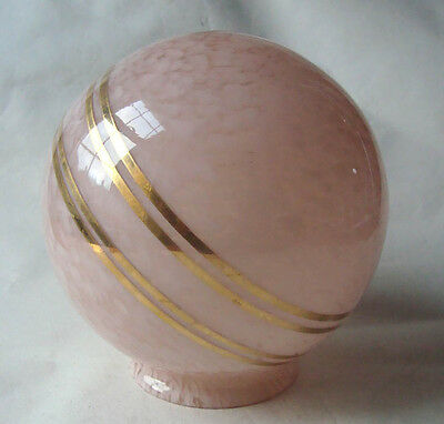 Lovely Art Deco Globe Glass Gilt Saturn Ring Lamp Shade Lampshade