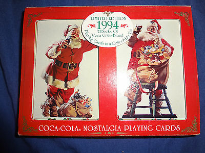 Coca Cola playing cards in collectible Tin Sealed 1994 LE 2 decks Nostalgia