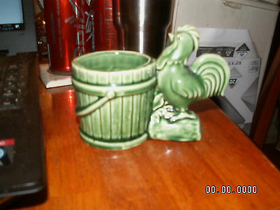 Vintage Rooster Chicken Green Pottery Planter ~ 1940's?? NICE LOOK!