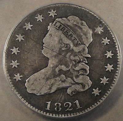 1821 Caped Bust Quarter ANACS F 12 Scratched