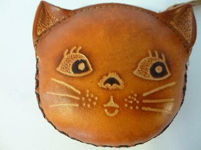 Leather cat coin purse key ring NEW brown carrying strap hand tooled purses