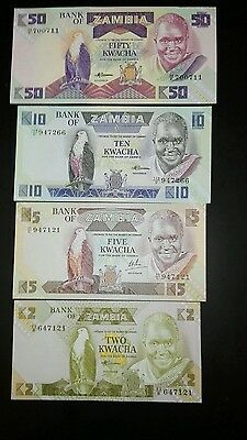 Zambia set of 4 Banknotes UNC