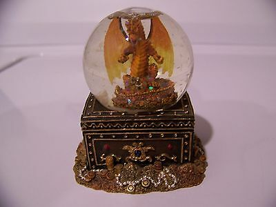 Vintage 2002 Westland Giftware Gold Fire Dragon Water Snow Globe Dome Ceramic