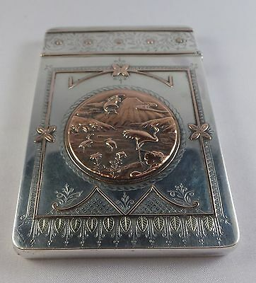Superb Rare Aesthetic Taste Antique Sterling Silver Card Case Birmingham 1881