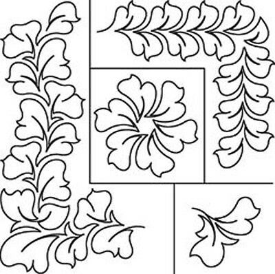 """Hyacinth Borders 17""""X20"""" - Quilt Stencils By Patricia Ritter"""