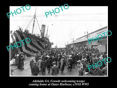 Old Large Historic Photo Of Adelaide, Wwi Soldiers On Troop Ship, Outer Harbour