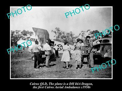 OLD LARGE HISTORIC PHOTO OF CAIRNS QUEENSLAND, 1st AERIAL AMBULANCE PLANE 1950s