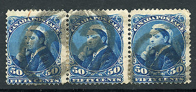 Weeda Canada 47 Used strip of 3, 50c deep blue 1897 QV Widow Weeds SQ CV $255