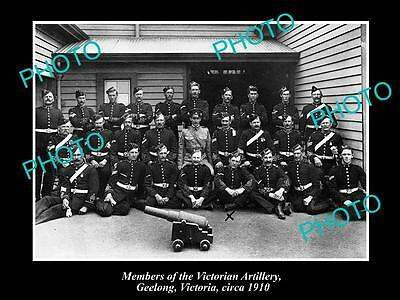 Old Large Historic Photo Of Members Of The Victorian Artillery, Geelong Vic 1910