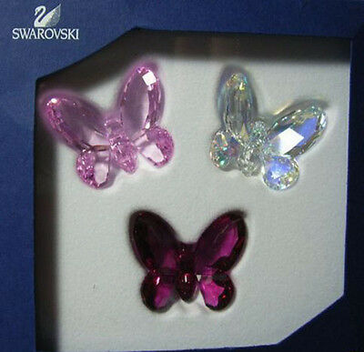 Swarovski Silver Crystal Butterflies Set 3 Red 955428 New In Box