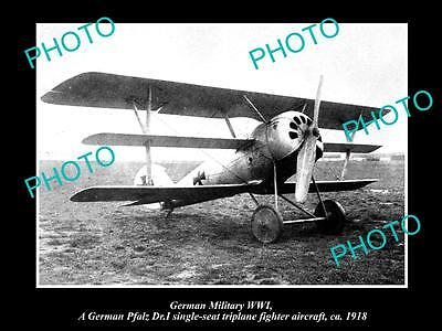 OLD LARGE HISTORIC PHOTO OF GERMAN MILITARY WWI, PFALZ TRIPLANE FLIGHTER c1918