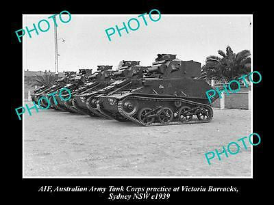 OLD LARGE HISTORIC PHOTO OF AUSTRALIAN ARMY TANK CORPS AT VIC BARRACKS c1939