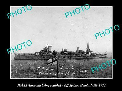 Old Large Historical Photo Of Hmas Australia Being Scuttled Of Sydney Heads 1924