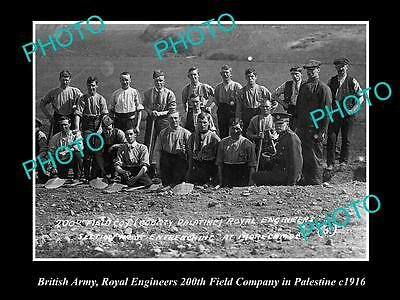 OLD LARGE HISTORICAL PHOTO OF BRITISH ARMY, ROYAL ENGINEERS IN PALESTINE c1916