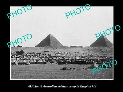 OLD LARGE HISTORIC PHOTO OF SOUTH AUSTRALIAN ANZAC SOLDIERS CAMP, EGYPT c1915