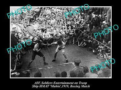 Old Large Historic Photo Of Aif Anzacs Wwi, Boxing On Troop Ship Hmat Mahia