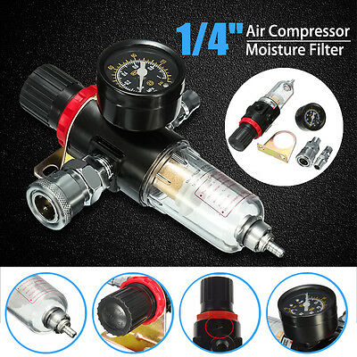 1/4'' Air Compressor Oil Water Regulator Filter Pressure Gauge Moisture Trap US