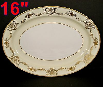 "NSP China Hand Painted Gold Trim Meito Japan 16"" PLATTER"