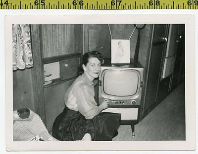 Vintage 1950's photo / Travel Trailer Lady Found Only Nitch in Place for TV Set