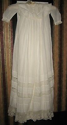Antique Baby Christening Gown & Slip Lace Trim With Detail