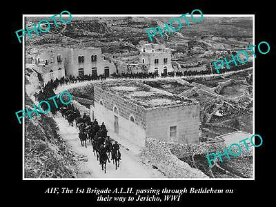 Old Large Photo Of Aif Anzac, The Aust Light Horse Passing Thru Bethlehem, Wwi
