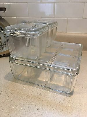 Vintage Hazel Atlas Criss Cross Clear Glass Refrigerator Set