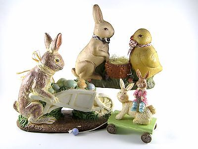 (3) Easter Decoration Figurines Bunnies and Chicks