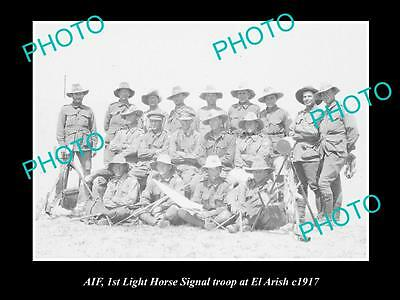 OLD LARGE HISTORICAL PHOTO OF AIF ANZAC, 1st LIGHT HORSE SIGNAL TROOP c1917