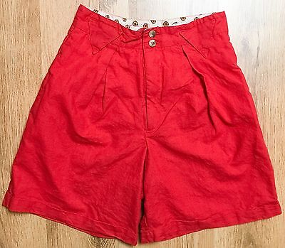 VTG 80's Red High Waisted Pocket Shorts Cotton Blend Hi Waist Women's Size Small
