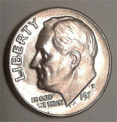 1982-D roosevelt dime error coin, missing year in date,