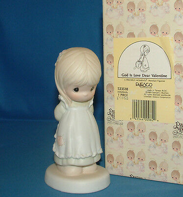 Precious Moment Figurine, 523518 pm 523518, (Girl with Heart Behind Back), 5235