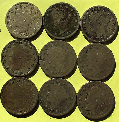 "1883 Liberty Head ""V"" Nickles -NO CENTS - 16 coins Sold Individually"