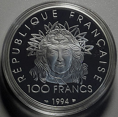 1994 France 100 Francs KM# 1048 1oz Silver Proof Coin GEM FDC Javelin Olympics