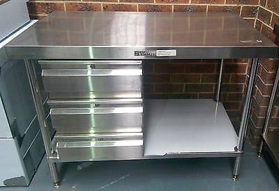 Simply Stainless Stainless Steel Bench with 3 Drawers New