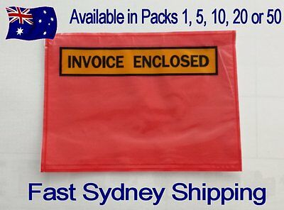 LARGE A5 165 x 230mm RED INVOICE ENCLOSED Envelope Document Sticker Pouch