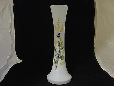 """Vintage Tall Hand Painted Hand Blown Bristol Glass Vase With Violets 12-1/4"""""""