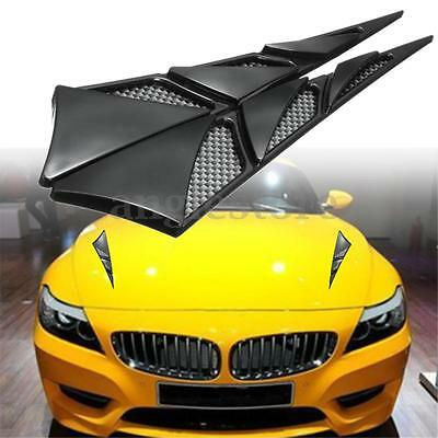 2x ABS Car Hood Side Air Intake Flow Vent Cover Decorative Stick Black US NEW