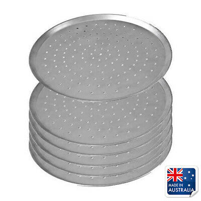 """6x Pizza Pan / Tray 230mm 9"""", Aluminium Perforated Plate, Round Oven Tray"""