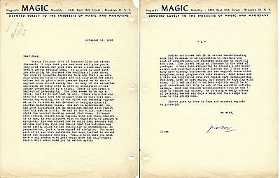 Magician Jean Hugard 2 Page signed Letter-1958-Magic Monthly Letterhead-vFINE-Oh
