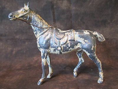 Metal spelter thoroughbred race HORSE, prob Japan fairing, losing paint