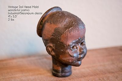 Antique Baby Doll Head Industrial Mold Metal Steampunk Curiosity Patina