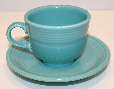 Fiestaware Homer Laughlin Cup And Saucer Turquoise Blue Contemporary Coffee Cup