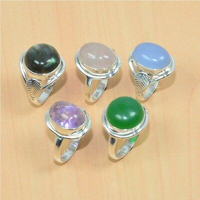 Wholesale 5Pc 925 Solid Sterling Silver Natural Rose Quartz & Mix Stone Ring Lot